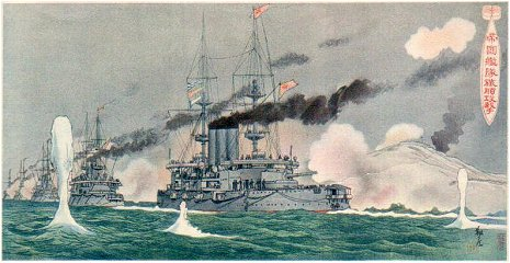 Japanese fleet bombards Port Arthur.